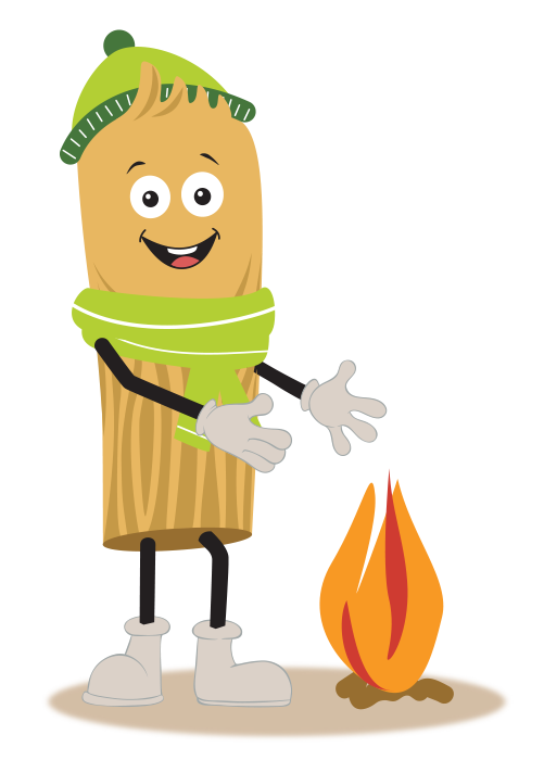 Wood pellet cartoon character wearing a scarf and beanie while warming by a fire